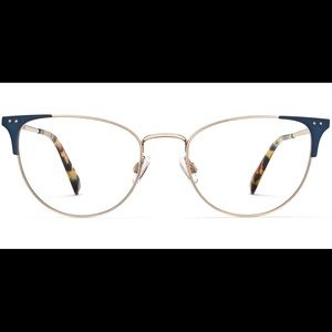 Warby Parker Ava Glasses Frames -Gold w/ Navy